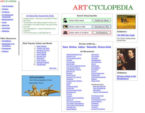 artcyclopedia_Search Engine